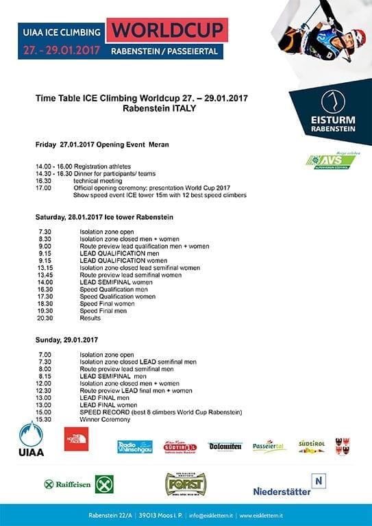 Eiskletter Worldcup Programm 2017